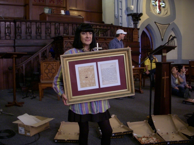 lulu-fitzpatrick-with-framed-john-wesley-letter-spring-cleaning-after-painting-21-may-2011-78-640x480
